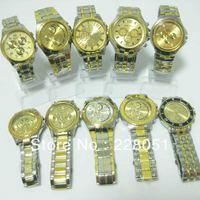 free shipping 5pcs/lot NEW STYLISH LUXURY WATCHES MEN'S MAN QUARTZ STAINLESS STEEL WRIST WATCH GOLD