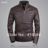 THOOO Brands FOB new Brand HOT BROWN  GENTLEMEN'S  pu Faux leather classic Motorcycle jacket Coat  M L XL 2XL 3XL 4XL 5XL