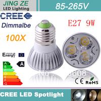 DHL Free shipping 100 X CREE LED E27 6W 9W 3x3W High power Spot Light Bulb Spotlight spot lamp Downlight