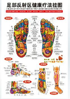 CHINESE CHART FOOT REFLECTIVE ZONES THERAPY REFLEXOLOGY MASSAGE WALL POSTER