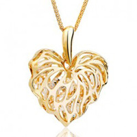 (Min order $10 mix)Fashion necklace delicate cutout leaves long design necklace heart zircon necklace fashion jewelry