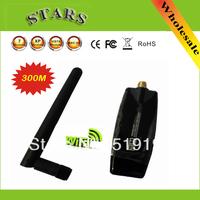 Wholesale Free shipping Mini 300Mbps USB2.0 WiFi Wireless Adapter adaptador Networking Lan Card with Externala antenna