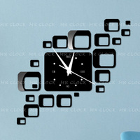 2013 new decorative mirror squere wall clock modern for every home and office decor