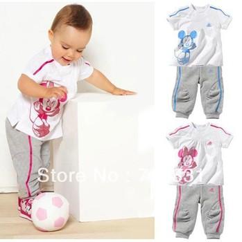 2273 NEW children's set 5set/lot girls and boy set 100% cotton sets short sleeve t-shirt+pants suit minnie clothen free shipping