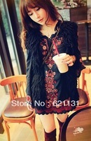 New 2013 Autumn National embroidery  trend flower flare sleeve fluid one-piece dress