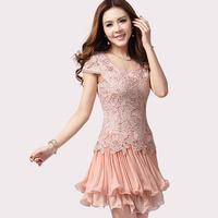 2014New  summer summer  women's chiffon princess dress water-soluble embroidered gauze short-sleeve slim one-piece dress -