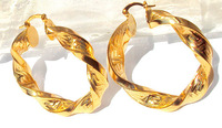Heavy Big Twisted 14K Yellow Gold Filled Womens Hoop Earrings FREE SHIPPING
