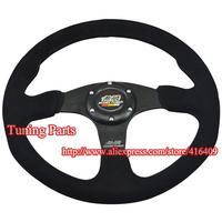 New Arrival Mugen Suede Leather Racing Car Steering Wheel Universal 350mm Steering Wheel