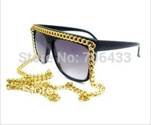 Free dropshipping Designer 2014 Fashion Sunglasses Golden Sports w/ Chain for Women Decoration sg109