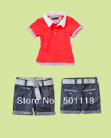 Girls Clothing Suit 2 Pcs Cotton T Shirt And Pants 2 Colors Blue And Red Kids Clothes Baby Children Summer CS30626-50B^^EI