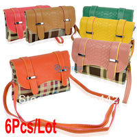 6Pcs/Lot Fashion Women Grid Color Block Handbag Shoulder Bag Clutch Cross-body Bag 6Colors 17238