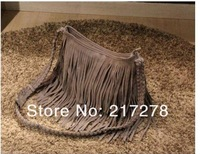 Shipping Free Factory direct 2012 Fringe Tassel Shoulder Messenger handbag Suede handbag-Brown Color ,Message bag