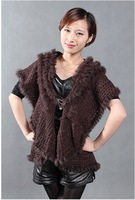 QD27880 New Arrival Women's Fashion Natural Knitted Rabbit Fur Wraps Single Button Female charm Sweater Shawls Lady Swing