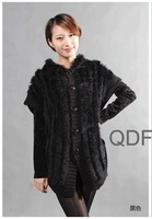 QD27881 High Grade Women's Fashion Natural Knitted Rabbit Fur Wraps Hooded Female charm Sweater Shawls Lady Swing