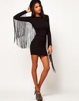Free shipping 2013 Women's sleeve Back fringe tassel close-fitting slim fittde elastic mini tight club Dress