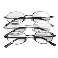 R3206 Free Shipping 3 Pair Mix(1 per Color) Quality Oval Metal Frame Packed of 3 Pairs Men's Women's Reading Glasses +1.0--+4.00