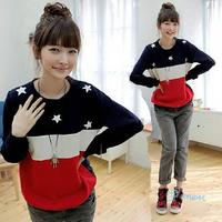 2014 New Patchwork Star Clothing Unique Stripe Autumn Stars Casual Fashion Print Design Fleece Girls Women Sweatshirts Hoodies