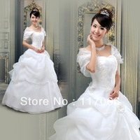 2013 new fashion white cap sleeve draped princess Orangza wedding dress free shipping