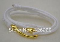 free shipping 5pcs a lot high quality white color parachute cord 18k gold fishhook bracelet  jewelry