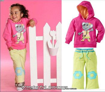 Free Shipping!2013 New Autumn coat hoodies for children,kids autumn sets,girl/infant clothing sets (Hooded Coat+Pants),5set/lot