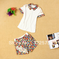 2013 women's beading patchwork fancy turn-down collar short-sleeve top shorts print beading set free shipping WDS266