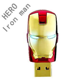 Best seller !  Gold Avengers Iron Man LED Finish Plastic Usb Flash Disk Drive  / Memory Stick 1GB 2GB 4GB 8GB 16GB