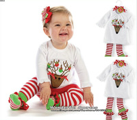 Free Shipping!2013 New Autumn babys girls clothes,kids autumn sets,clothing sets (Long sleeve t-shirt+stripe stockings)5set/lot