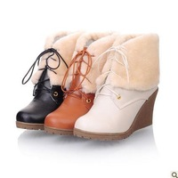 2013 New Fashion Wedges Rubber Short Plush Casual Female Beige Black Yellow Snow Boots Free Shipping