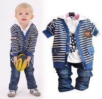 Roupas bebes menino 2014 clothing sets baby boy clothing set cotton full sleeve blue Paisley 3 piece set