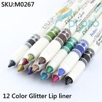 12 Color Glitter Lip liner Eye Pencil Shadow Glitter Eyeliner Pencil Pen Cosmetic Makeup Set SKU:M0267