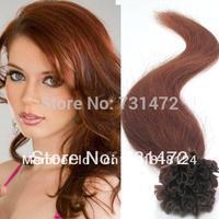"18"" 20"" 22"" #30 Light Auburn Prebonded Keratin Nail U Tip Hair 100%Indian Human Virgin Remy Hair Extensions Straight   Hair"