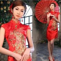 2014 New Arrival Fashion Improved Cheongsam Red Short Design Married Cheongsam Evening Formal Dress Drop Shipping