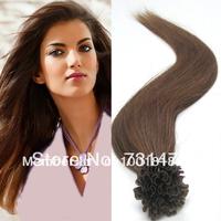 "Free Shipping 18"" -22"" 0.5g/s 100s 50g #8 Ash Brown Pre Bonded Nail U Tip Keratin Glue 100% Remy Human Hair Extensions Soft Long"
