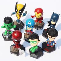 Free Shipping 8pcs/set Marvel The Avengers Superheroes Captain American Hulk X-men Spiderman Mini PVC Action Figure Toys Dolls