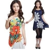2014  XL XXL 3XL 4XL 5XL 12 color Spring Summer Autumn Winter Women Print Plus Size T-shirt Short-sleeve Loose Tops mother shirt