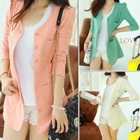 New arrival 2013 Spring Women candy color Single Breasted Slim Casual Jacket/long sleeve elegant career formal jacket