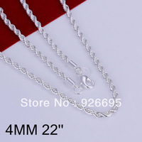JN067-22  wholesale 925 sterling silver necklace jewelry, 925 silver fashion jewelry Shine Twiste Line 4mm 22 inches Necklace N0
