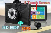 "8GB 5"" LCD HD 1080P Android 4.4.2 Car DVR GPS Navigation vehicle Parking Dash cam Dual camera Radar Detector Wiif FM + free maps"