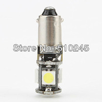 10x Free shipping Car Auto LED BA9S 6523 1895 H6W T4W  5 led smd 5050 CANBUS OBC ERROR FREE LED Light Bulb Lamp 5SMD White