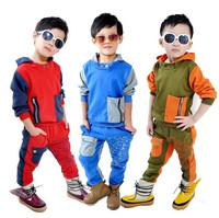 Fashion children clothing set autumn long sleeve cotton casual sports suit kids boys warm tracksuit hoodies+pants 2pcs set