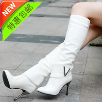 2013 rhinestone high-heeled boots with a single japanned leather casual high-leg boots boots