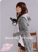 Free shipping 2013 autumn and winter women fashion new arrival plaid hooded medium-long cardigan sweater outerwear