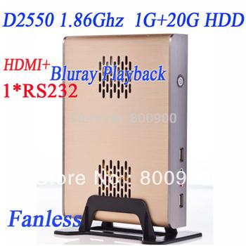 cheap mini pc with intel D2550 1G RAM 20G HDD intel atom dual core four thread D2550 1.86Ghz cpu alluminum fanless chassis