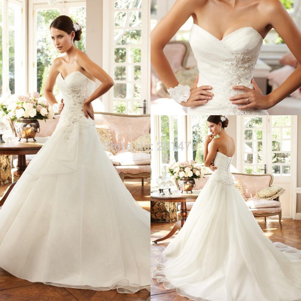 Grátis frete nova moda vestido de noiva simples elegante cristal frisado A linha de Organza vestido de casamento barato vestido 2015 SB020(China (Mainland))