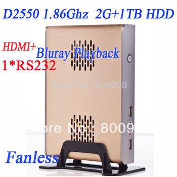 kiosk mini pc with intel D2550 dual core four thread 1.86Ghz fanless with COM HDMI 6*usb port 2G RAM 1TB HDD win 7 alluminum