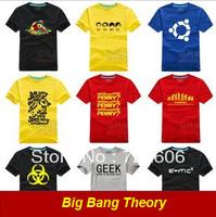 2013 cool Big Bang theory Bazinga Sheldon Cooper The Evolution Of Man Geek Logo Tshirt 6color 6 size Free shipping