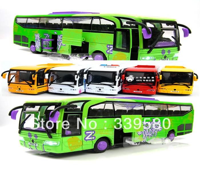 Plain 5 open the door bus 23cm alloy child big bus toy tourist bus model toys(China (Mainland))