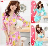 Hot spring summer sunshine Korea design Japan brazilian style 4 pieces woman swimsuit,tankinis,sexy trikini,high waisted bikini