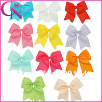 11 pieces/lot 7.5 inch Handmade Solid Grosgrain Ribbon Big Hair Bows With Clips Boutique Hair Bow For Girls CNHBW-1307161