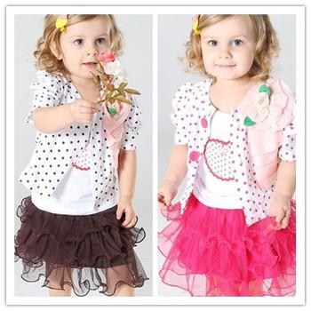 Baby Girls Clothing Set Children set kids suits coat three piece set jacket+shirt+skirt dot tutu dress Free shipping